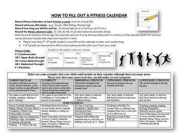 January Fitness Calendar 2018