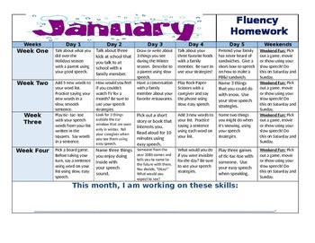 January Fluency Calendar