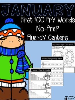 January Fluency No Prep First 100 Fry Words