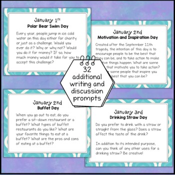 January Fun Holidays Discussion and Writing Prompts