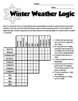 January Holiday Brain Teasers and Puzzles- Martin Luther King, Jr. and Winter
