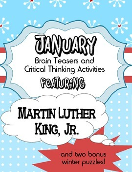 January Holiday Brain Teasers and Puzzles- Martin Luther K