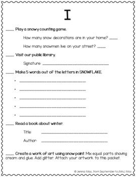 January Homework Bingo Board: Snowflake Edition