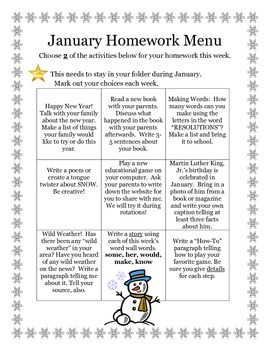 January Homework Menu