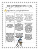 January Homework Menu