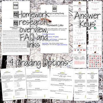 Third Grade Homework January {30+ NO PREP Printables & Editable Homework Menu}