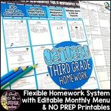 Third Grade Homework January | 35+ NO PREP Printables & Editable Homework Menu