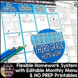 Third Grade Homework January | 35+ NO PREP Printables & Editable Homework Menu