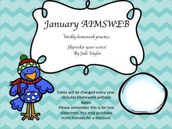 January Homework Practice for AIMSWEB or DIBELS