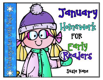 January Homework for Emergent Readers No Prep