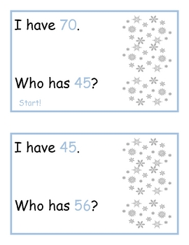 January I Have, Who Has:  Number Recognition 40-70