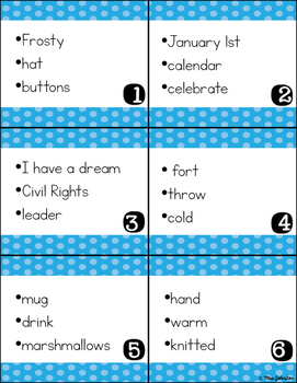 January Inferencing Task Cards