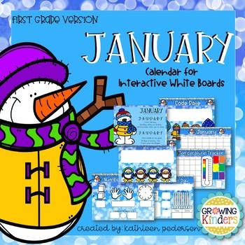 January Interactive Calendar Flipchart for 1st Grade