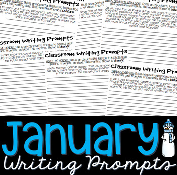Writing Prompts JANUARY (Bell Ringer, Morning Work, Daily Writing)