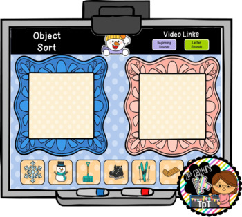 January Interactive Literacy for PreK, Kinder, 1st  -Works on ANY White Board!