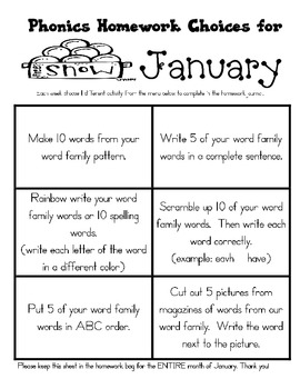 January Journal Cover, Newsletter, and Phonics Choices