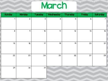 January - June 2015 Chevron Monthly Calendars