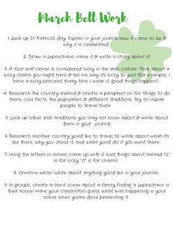 January - June bell work (writing prompts & activities)