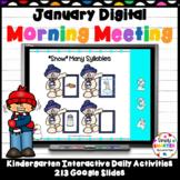 January Kindergarten Digital Morning Meeting For GOOGLE SLIDES
