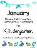 January Kindergarten Extra Practice, Homework, Homefun