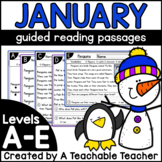 January Kindergarten Guided Reading Passages and Questions Levels A-E