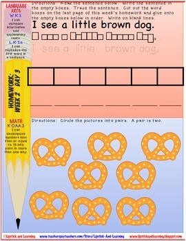 January Kindergarten Homework COMMON CORE ALIGNED