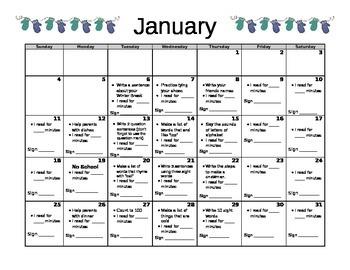 January Kindergarten Homework Calendar-editable