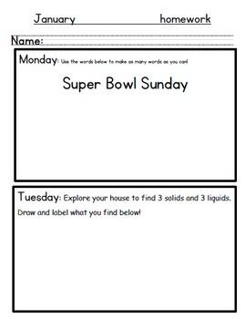 January Kindergarten Homework-Editable, all subjects, differentiated