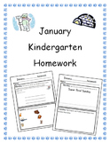 January Kindergarten Homework-Editable, all subjects, differentiated