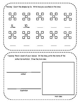 January Kindergarten Homework Packet