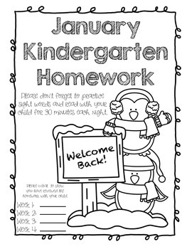 January Kindergarten Homework or Morning Work