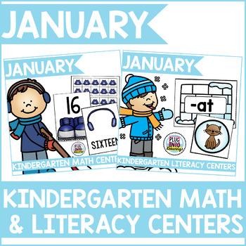January Kindergarten Math & Literacy Centers