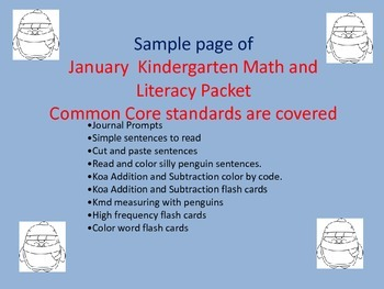 January Kindergarten Math and Literacy Packet 1 page sample