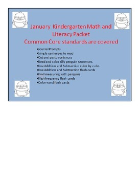 January Kindergarten Math and Literacy Packet