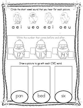 January Kindergarten Morning Work, Daily Math and Literacy