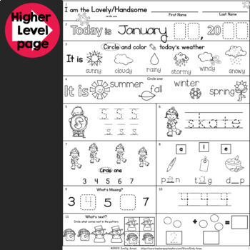 Morning Work:  Kindergarten January Packet (Common Core Differentiated Winter)