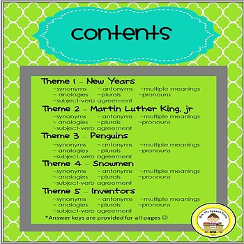 January  Language and Vocabulary Printables for Middle School Speech Therapy
