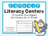 January Literacy Centers Menu {Common Core Aligned} Grade 1