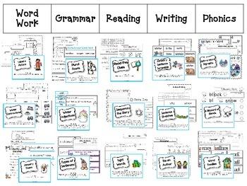 January Literacy Centers Menu {Common Core Aligned} Grade 1