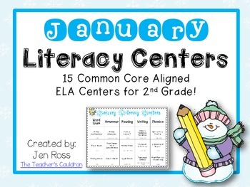 January Literacy Centers Menu {Common Core Aligned} Grade 2