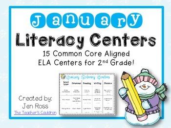 January Literacy Centers Menu {Common Core Aligned} Grade 2