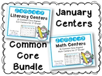 January Literacy & Math Centers Menu BUNDLE {Common Core Aligned} Grade 1