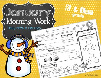 January Daily Literacy & Math Morning Work {Kindergarten &