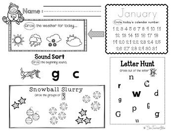 January Daily Literacy & Math Morning Work {Pre-K & Kindergarten} No Prep!