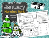 January Daily Literacy & Math Morning Work {Pre-K & Kindergarten} No Prep!