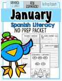 January Literacy No Prep Packet ¡En Español! (1st-2nd-3rd)