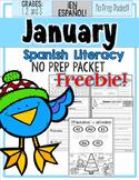 January Literacy No Prep Packet ¡En Español! (1st, 2nd, 3r