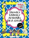 January Literacy Refresher Activities-First Grade Print and Go