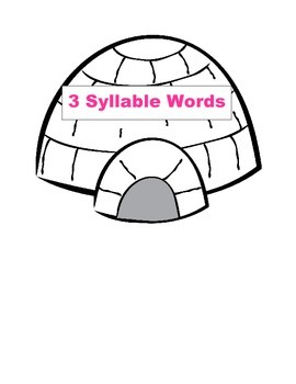 Winter Little Penguin 3 or 4 Syllable Count Literacy Center Week 1 & 2