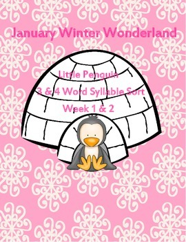 Winter Little Penguin 3 or 4 Syllable Count Literacy Cente